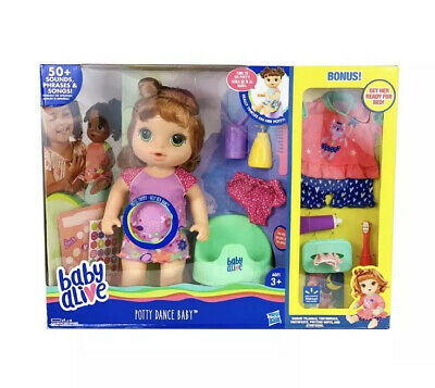 Baby Alive Potty Dance Baby Red Curly Hair Doll Bonus Pajamas Toothbrush Wipes