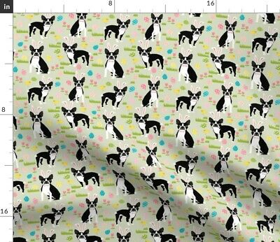 Boston Terrier Dog Dogs Easter Bunny Pastel Fabric Printed by Spoonflower BTY
