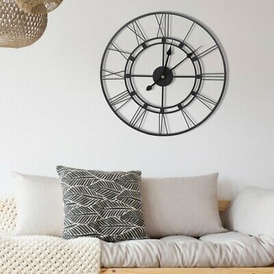 Large Roman Numerals Skeleton 60 Cm Wall Mounted Clock Big Giant Open Face Round