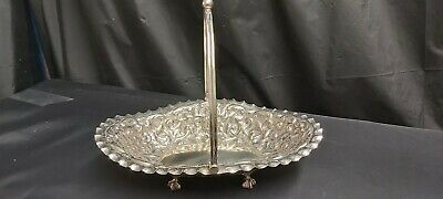 An Antique Silver Plated Fruit Dish With Embossed Rococo Style Patterns.