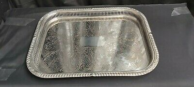 A Large Antique Silver Plated Gallery Serving Tray With Elegant Patterns.