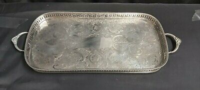 An Antique Silver Plated Gallery Tray With Engraved Patterns.