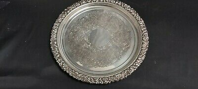 An Antique Silver Plated Serving Tray With Beautiful Patterns.very ornate.