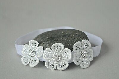 Baptism Baby Headband lace flower christening hair band for baby girl Handmade