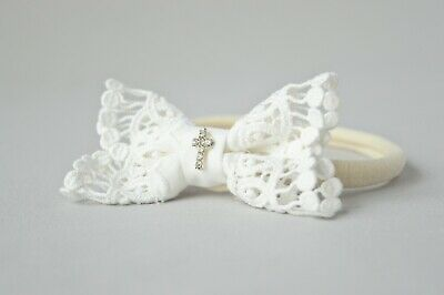Beige baby hair band with cross, lace baby bow for baptism christening, Handmade