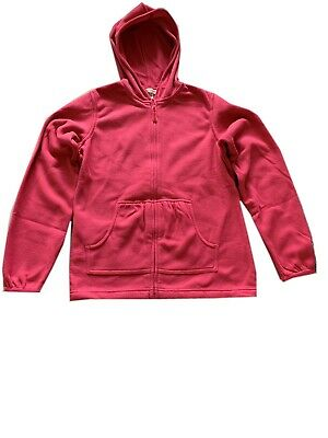 Girls Pink Zipped Longsleeve Soft Fleece Hoodie Cardigan Light Jacket.10-12years
