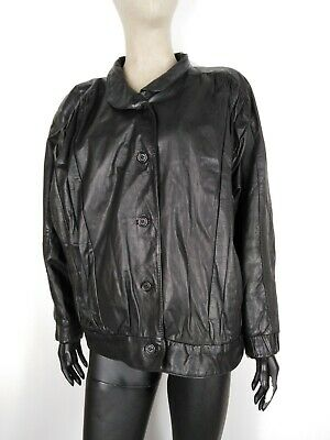 CAPPOTTO DI PELLE VINTAGE Giubbotto Jacket Giacca Tg It: 50  Donna