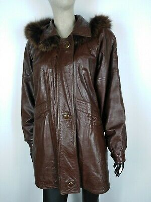 CAPPOTTO VINTAGE VERA PELLE MADE IN ITALY Giubbotto Giacca Tg 46 Donna