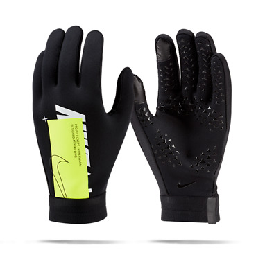 NIKE HYPERWARM ACADEMY FIELD PLAYER SOCCER GLOVES 2019/20 Black/Volt