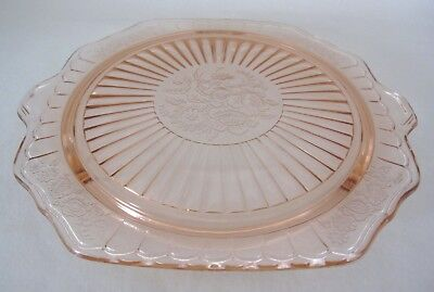"""Pink Depression Glass MAYFAIR OPEN ROSE 10"""" CAKE PLATE - Footed"""