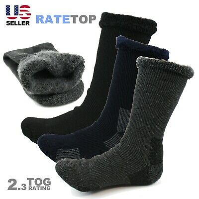 Mens Heavy Duty Winter Thermal Heated Brushed Fleece Insulated Snow Ribbed Socks