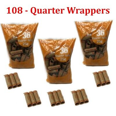 108 Preformed Quarter Tubes Paper Coin Wrapper 25 Cent Roll Counter Shotgun