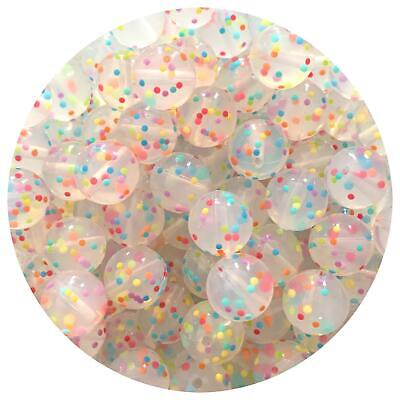 10 silicone RAINBOW SPECKLED 15mm beads round BPA free baby safe nursing clear