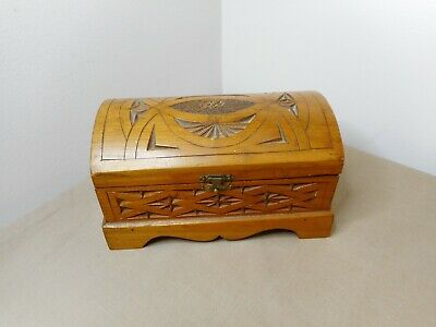 Antique Folk Art Trench Art Chip Carved Lidded Box Cask