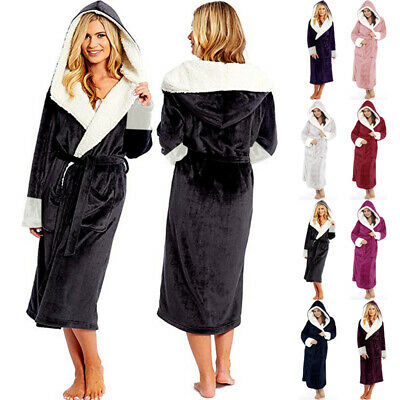 Womens Winter Flannel Robe Hooded Warm Bathrobe Sleepwear Plush Dressing Gown
