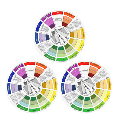 3pcs Creative Color Wheel Paint Mixing Guide Makeup Ink Blending Board Chart