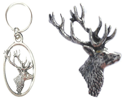 Cerf Badge Pins à Goupille Broche Renne Pays Héritage Hunting Highland BNWT //