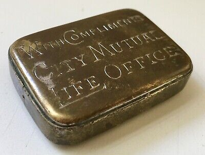 Antique Vintage Vesta Case Advertising City Mutual Life Australian