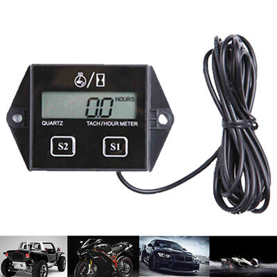LCD Digital Tach//Hour Meter For 2//4 Stroke Gas Engine Motorcycle ATV Boat N2T6