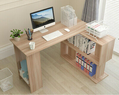Wooden Corner Computer Desk Home Office 2 Tiers Study Gaming Table With Shelves