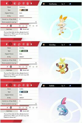 ALL 3  6iv Shiny Starter Pack For Pokemon Sword And Shield ! good natures