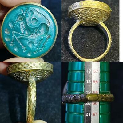 horse  Old jade stone intaglio Beautiful Unique Ring  # 60