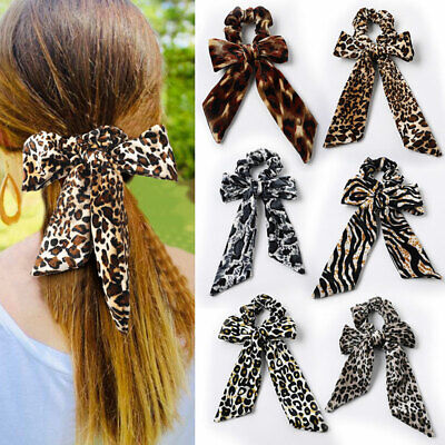 Leopard Knotted Velvet Scrunchies Streamers Bow Hair Rope Girls Elastic Hair Tie