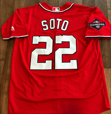 #22 Juan Soto Washington Nationals  2019 World  JERSEY Patch Sizes S-3XL