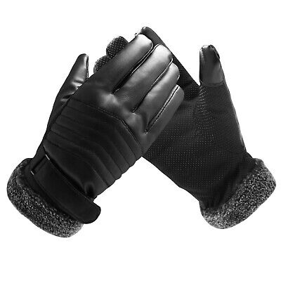 Winter Gloves Touch Screen Leather Warm Thick Men Women Mittens Soft Lined Ski
