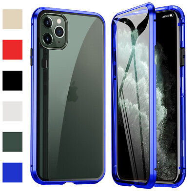 For iPhone 11 Pro Max Magnetic Clear Metal Thin Case Double Sided Tempered Glass