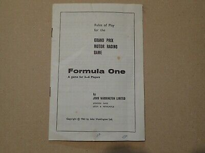 Waddingtons Formula 1 Board Game Vintage 1962 rule book spare replacement (Y314)