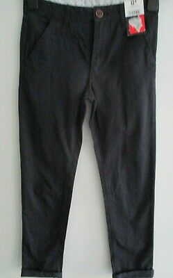 George Boys Trousers Blue Smart Age 8 - 9 100% Cotton Adjustable Waist New Tags