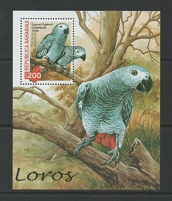Thematic Stamps Animals - SAHARA 1998 BIRDS PARROTS MIN SHEET mint
