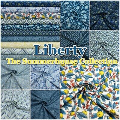 Liberty The Summerhouse Collection Botanical Blue 100% Cotton Patchwork Fabric