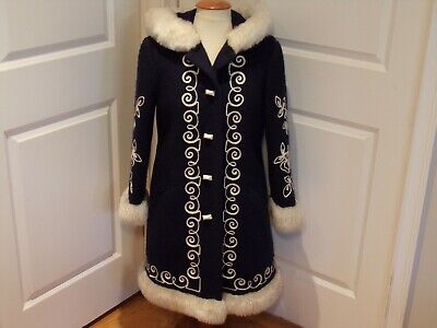 Vintage 1970's  Navy Blue w/White Faux Fur Trim Princess Coat  Large