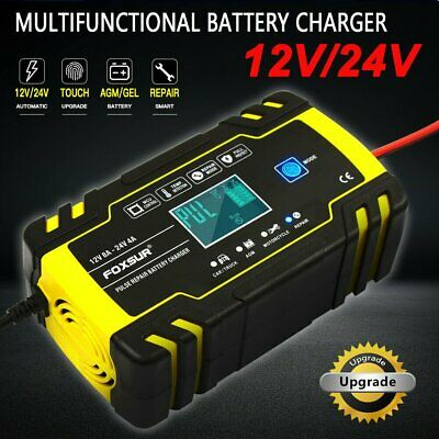 8 Amp Intelligent Car Battery Charger Pulse Repair Starter 12V/24V AGM/GEL UK