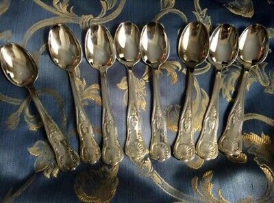 Vintage FRENCH, Ornate Silver-plated Soup Spoons, 8,1940s From Paris Brocante