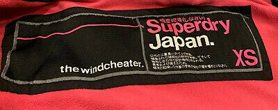 Girls Ladies Xs Black Pink Superdry Windcheater Coat Jacket Uk Size 4/6 10-12 Yr