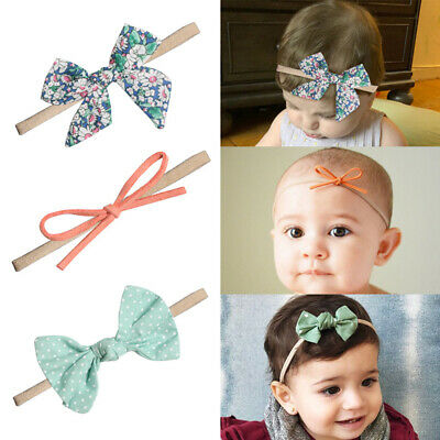 10 Colors Print Flower Bownot Baby Headband Artificial Flower Hair Band