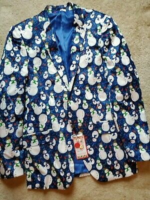 Suslo Couture Christmas Holiday Snowman Blazer Mens Small 38 Slim Fit Blue NWT