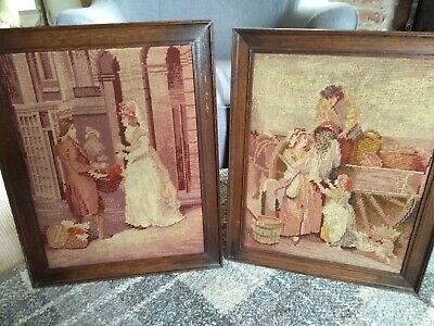 Beautiful Pair Of Large Vintage Wooden Framed Tapestries