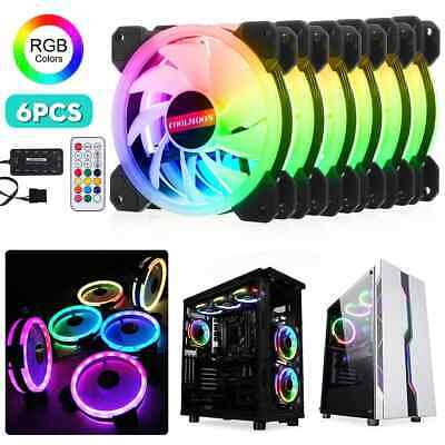 3//6-Pack RGB LED Quiet Computer Case PC Cooling Fan 120mm with Remote Control