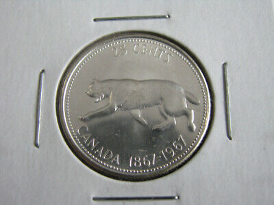 Canadian 1867-1967 25 cents Silver Coin Uncirculated Blast White