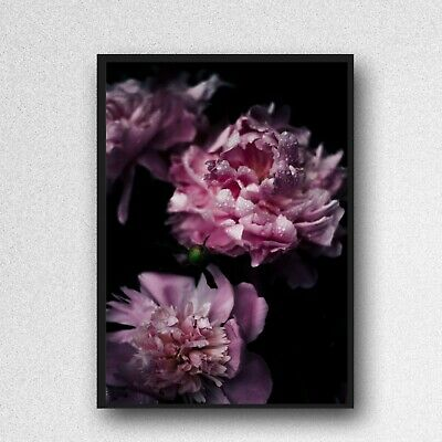 peony print pink flowers floral PICTURE WALL ART A4 unframed poster gloss 1