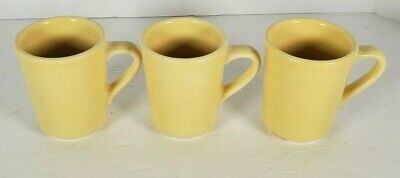 Lot of 3 Homer Laughlin Restaurant Ware Yellow Coffee Mugs Cups HLC USA