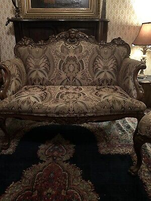 Best Victorian Horner Oak Highly Carved Cherub And Paw Footed 3 Pcs Settee Set