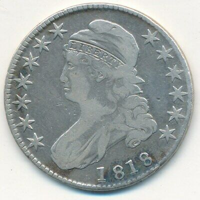 1818 Capped Bust Silver Half Dollar-Nice Circulated Half Dollar-Ships Free!