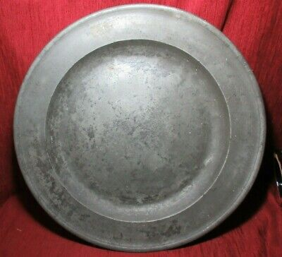 "ANTIQUE 18 th CENTURY ENGLISH PEWTER LARGE CHARGER PLATE 18 ""  c. 1730"