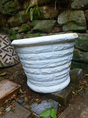 Retro cement pot mid century round concrete garden planter atomic painted white