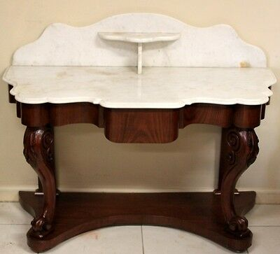 Antique Mahogany Hall Table Circa 1880 Original Marble Top With Og Edge